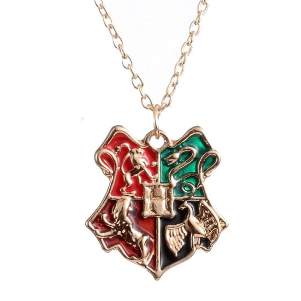 Harry Potter Guld Halsband - Hogwarts Vapensköld / Sköld / Crest Guld