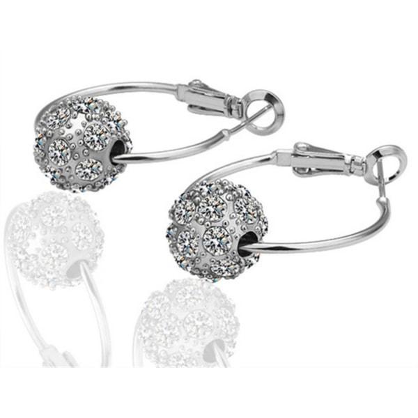 Hoop Silver Örhängen - Boll med Vita Kristaller  Silver