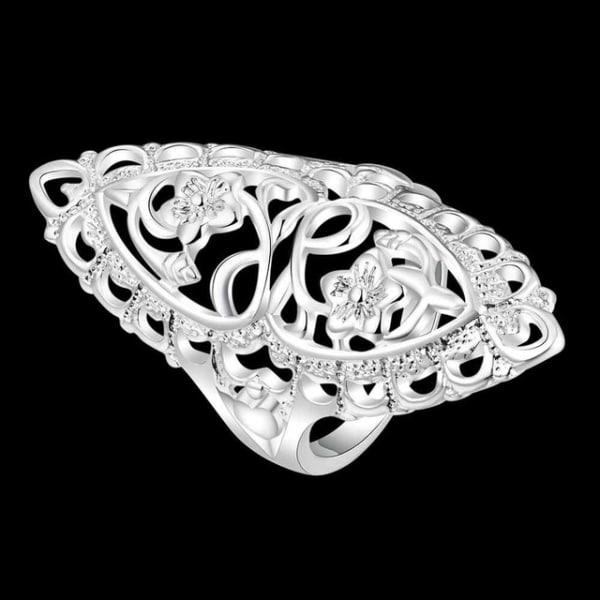 Oversize Silver Ring - Blomma & Hjärta - Stl 17,3 Silver