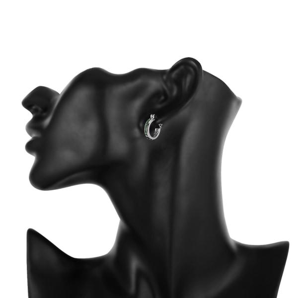 Retro Glittrande Silver Örhängen - Hoop med Gröna CZ Kristaller Silver