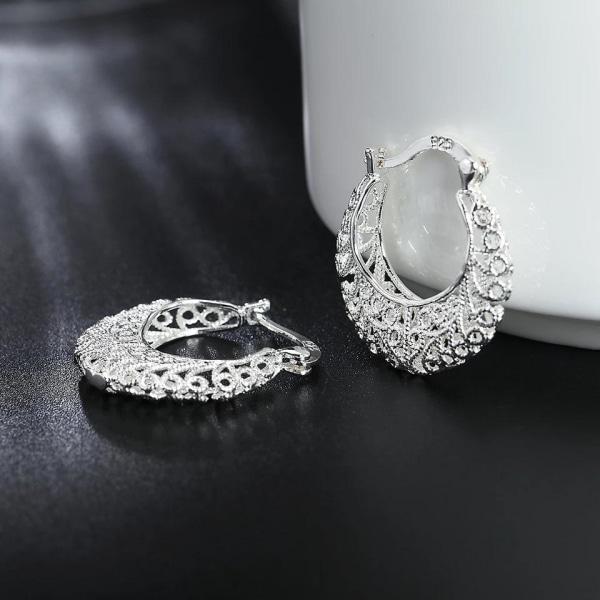 Retro Silver Örhängen - Hoop i Bohemiskt Fint Mönster Silver