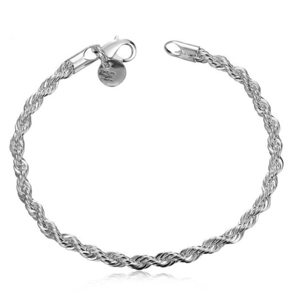 Silver Armband - Twist & Tvinnat - Stilren Design - 3 mm Silver