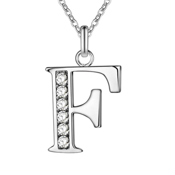 Silver Bokstavshalsband & Cz Kristall - Halsband Med Bokstaven F Silver