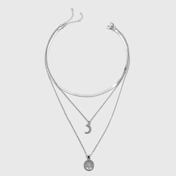 Silver Halsband/Choker med 3 Kedjor: Ormlänk, Måne & Livets Träd Silver