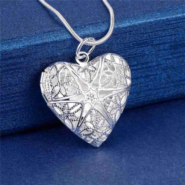 Silver Halsband med Öppningsbar Medaljong - Hjärta med Stjärna Silver