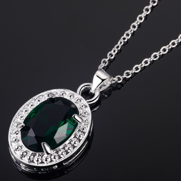 Silver Halsband med Stor Oval Grön CZ Kristall & Fint Mönster Grön