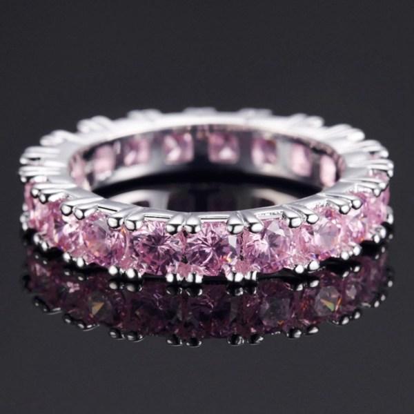 Silver Ring - en rad Strass / Rosa CZ Kristaller - Stl 18,9 Rosa