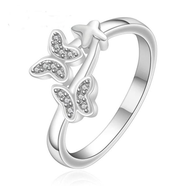 Silver Ring med 3 Fjärilar & CZ Kristaller - Stl 17,3 Silver