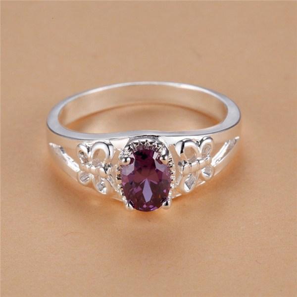 Silver Ring med Oval Lila CZ Kristall & Fjäril - Stl 18 Lila