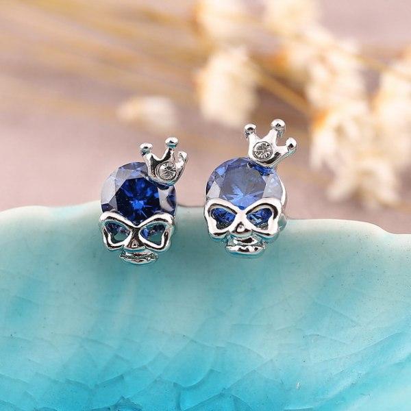 Silver Stud Örhängen - Döskalle med Blå CZ Kristall    Blå