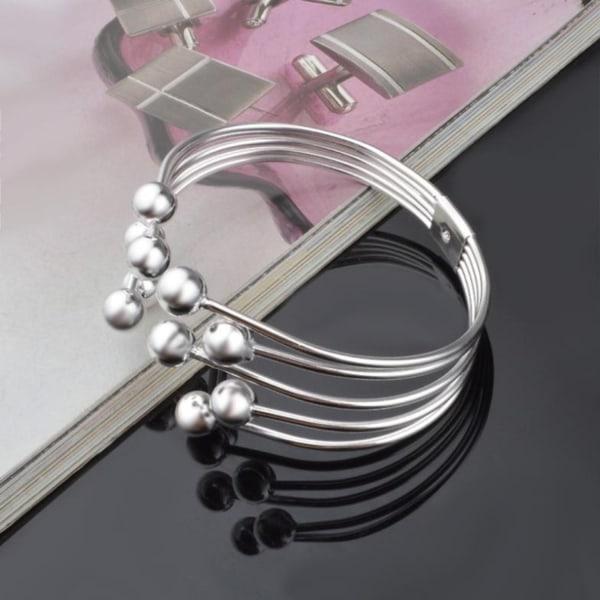 Stelt Silver Armband/Bangle - Blanka Bollar - Multi Sträng Silver