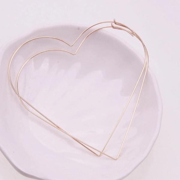 Stora Hoop Guld Örhängen i form av Hjärtan / Hjärtformade Guld