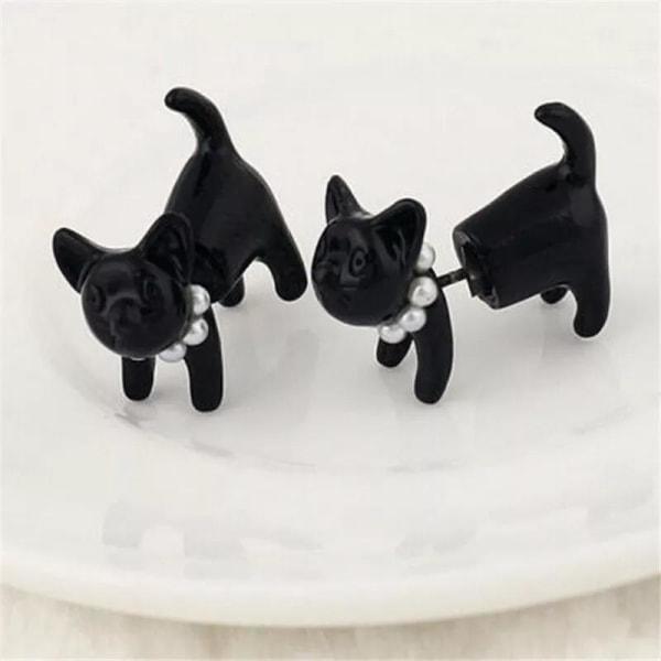 Stud Örhängen - Cool Svart Katt / Black Cat med Pärlhalsband Svart