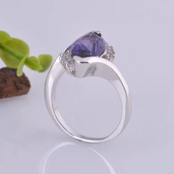 Unik Silver Ring med Lila & Vit CZ Kristall - Stl 17,3 Lila