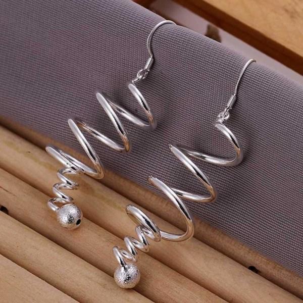 Unika Långa Silver Örhängen - Spiral med Glitter Boll / Kula     Silver