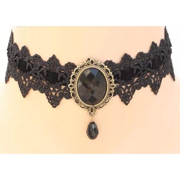 Vintage Svart Spets Choker / Halsband - Svart Sammet & Kristall Black