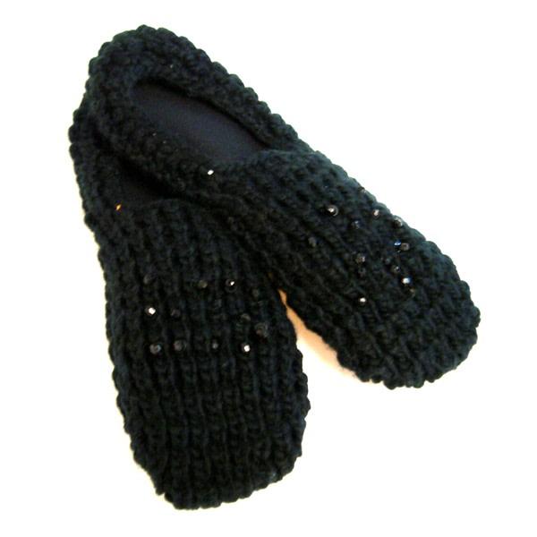 Stickade tofflor svarta Svart
