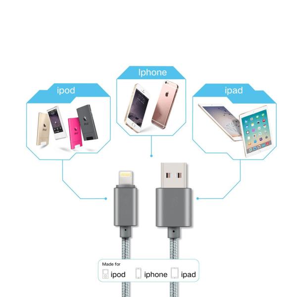 2m Lightning kabel för iPhone/iPad - iOS 11 - Svart Svart