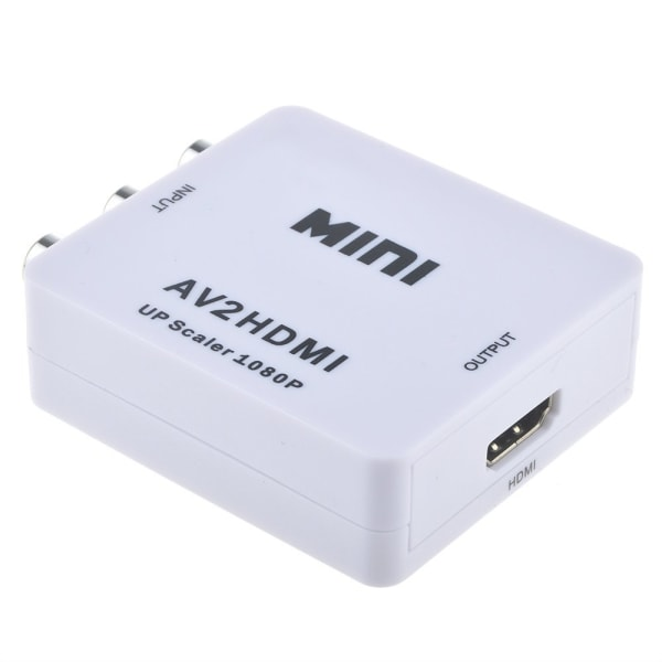 AV TILL 1080p HDMI Adapter - (3x RCA) NTSC / PAL Kompatibel Vit