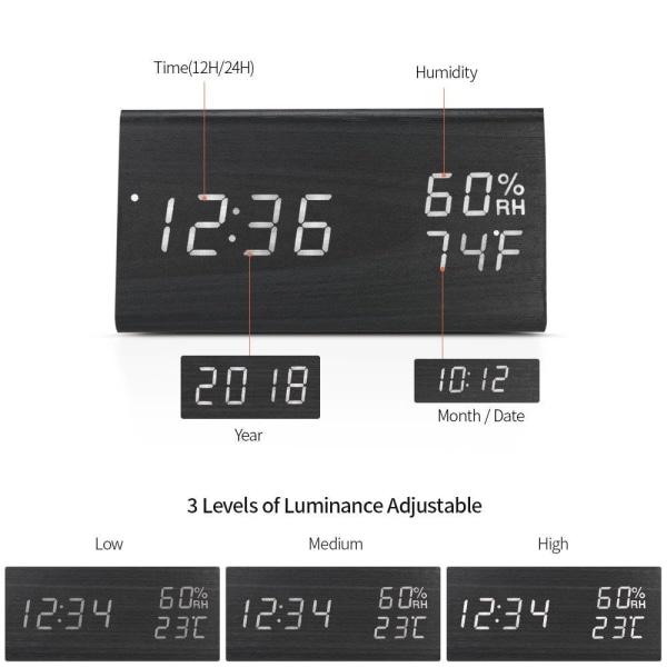 Digital Alarmklocka, Trekantig - Svart Svart