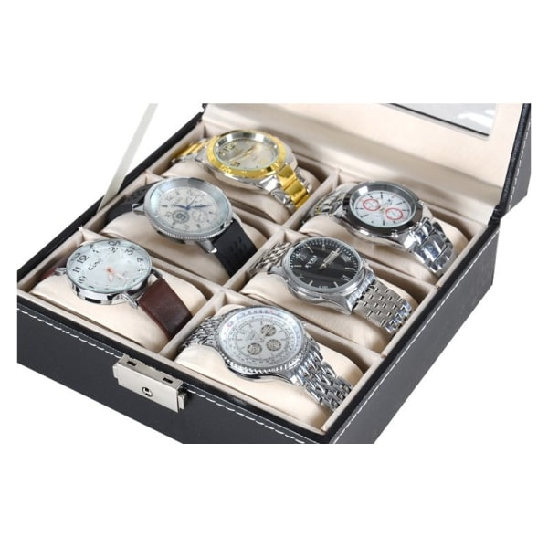 Klockbox / Klocklåda / Urbox för 6 klockor Svart