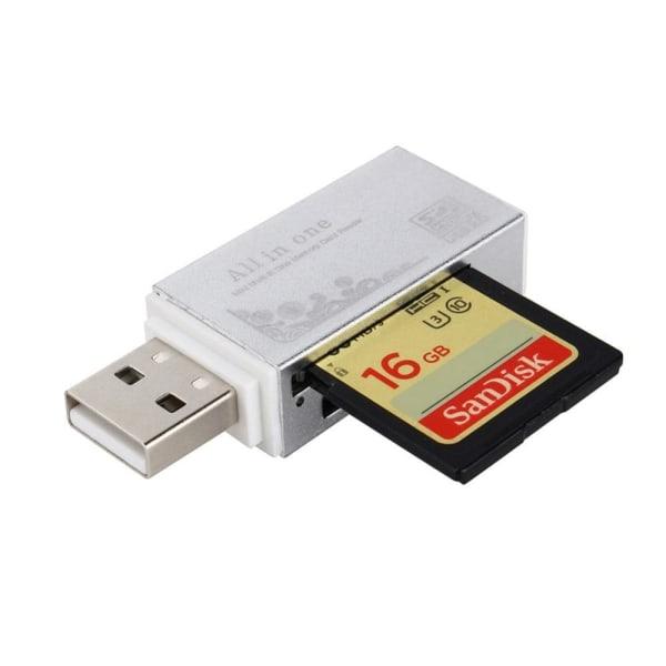 Kompakt USB Minneskortläsare | 4 i 1 Silver