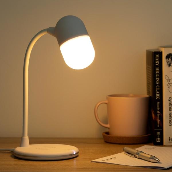 Lampa med Högtalare & Trådlös Laddare Vit
