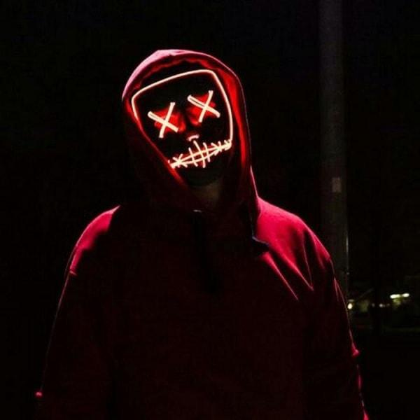 The Purge LED Neon Mask, Halloween - Gul multifärg