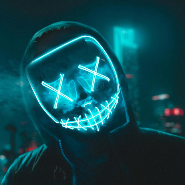The Purge LED Neon Mask, Halloween - Lila multifärg