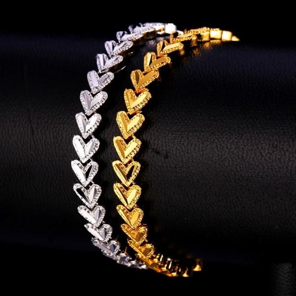 U7 Armband med Hjärtan - Guld Guld