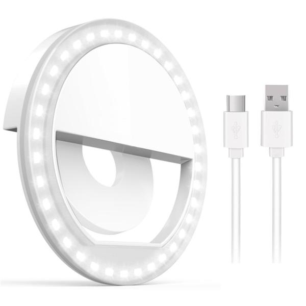 Universell Selfie Lampa / Ring med olika ljuslägen - Vit Vit