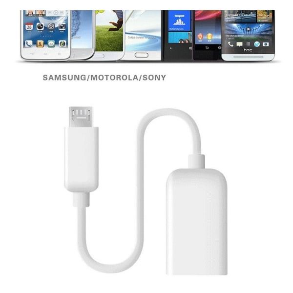 USB till Micro USB Kabel - Inbyggd OTG Adapter - Vit Vit