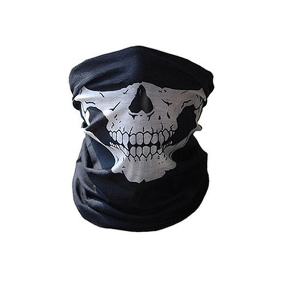 Vit Skelett Mask / Scarf / Halsduk | Halloween - Skeleton Mask Vit
