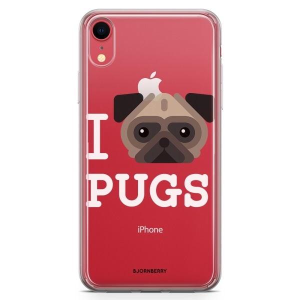 Bjornberry Hybrid Skal iPhone XR  - I Love Pugs