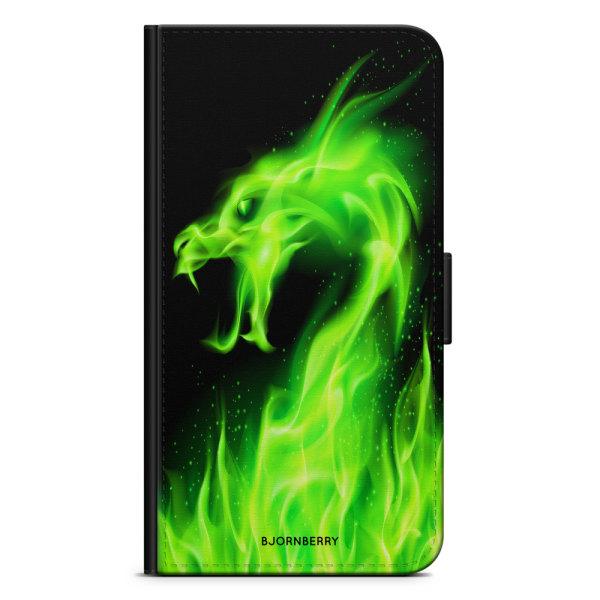 Bjornberry Plånboksfodral Huawei Honor 9 - Grön Flames Dragon