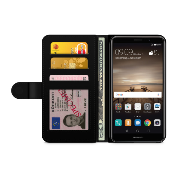 Bjornberry Plånboksfodral Huawei Mate 9 - Blå Paisley