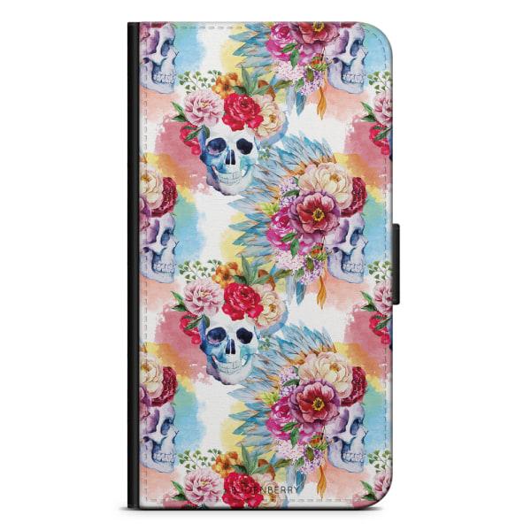 Bjornberry Plånboksfodral Huawei P8 Lite - Dödskallar & Blommor