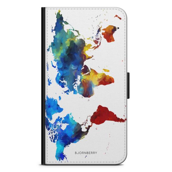 Bjornberry Plånboksfodral Huawei P8 Lite - Världskarta