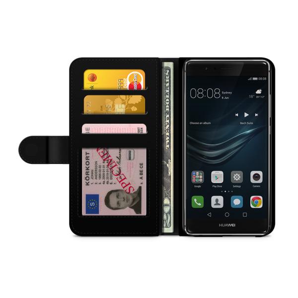 Bjornberry Plånboksfodral Huawei P9 Lite - Blå Marmor