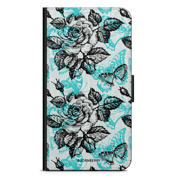 Bjornberry Plånboksfodral Nokia 6.1 - Fjärilar & Rosor
