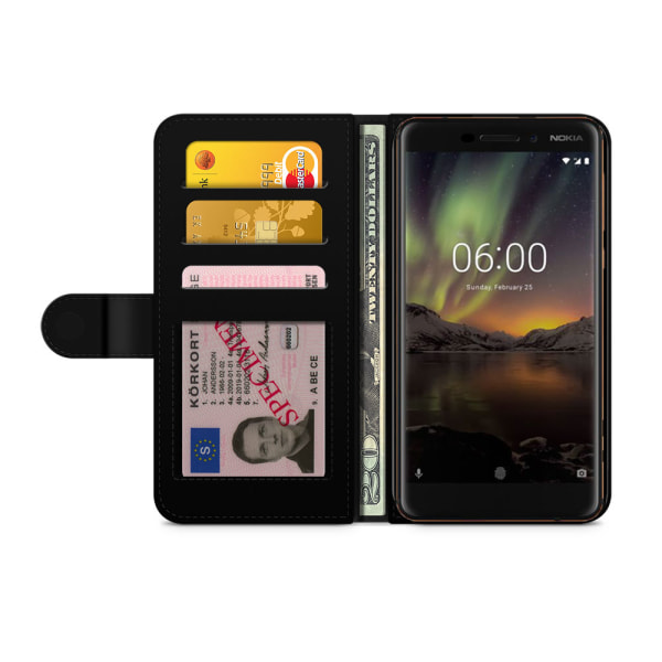 Bjornberry Plånboksfodral Nokia 6.1 - Guldiga Ananas