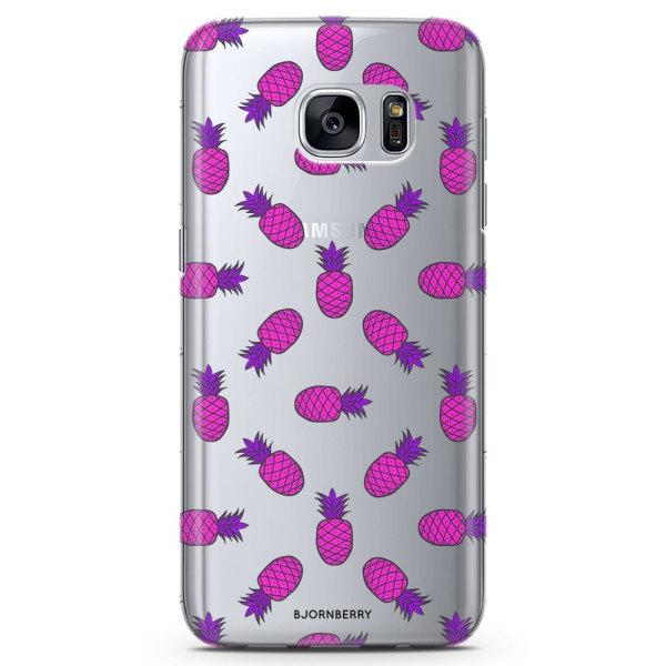 Bjornberry Samsung Galaxy S7 Edge TPU Skal -Rosa Ananas