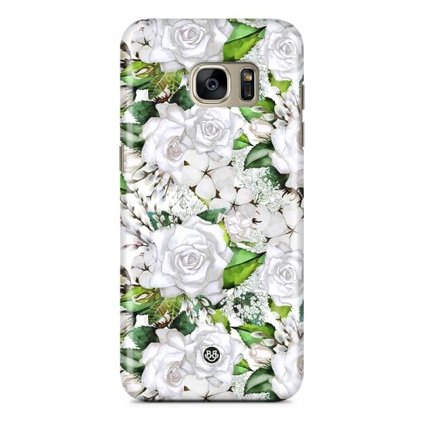Bjornberry Samsung Galaxy S7 Premium Skal - White Floral