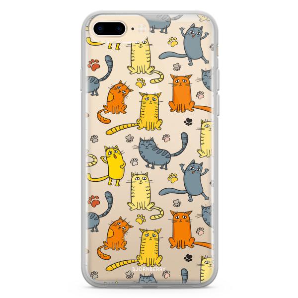 Bjornberry Skal Hybrid iPhone 8 Plus - Kattmönster