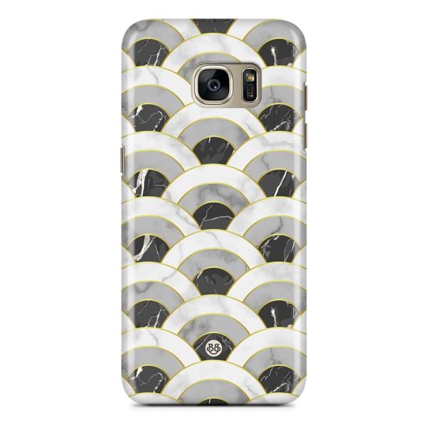 Samsung Galaxy S7 Edge Premium Skal - Marble Wave Dark