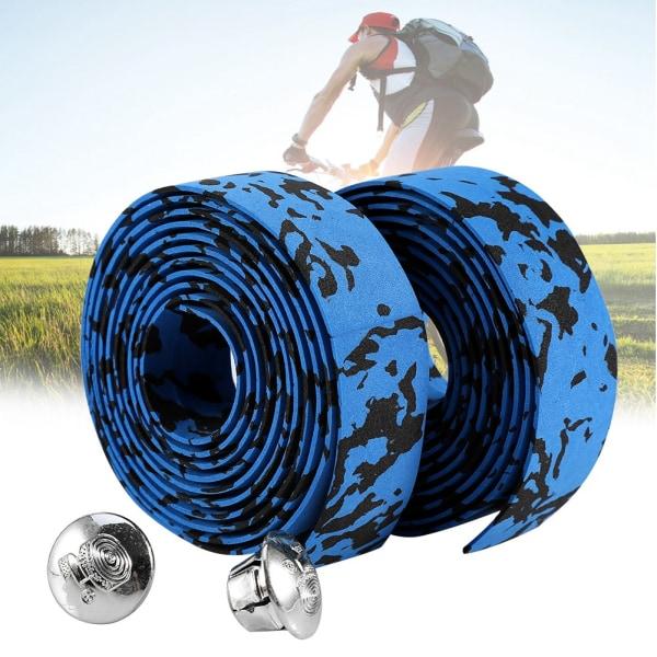 2 Cycling Road Bike Handlebar Grip Wrap Tape + 2 Bar Plugs(B blue+black