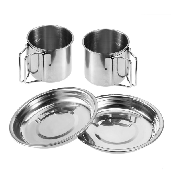 6Pcs Portable Stainless Steel Cookware Set Camping Picnic Ou