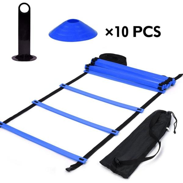 Speed Agility Train Kit, 19Ft Flat Ladder + 10pcs Disc Cones 1个训梯子(蓝色)+ 10个足球角标(圆口蓝色)+1个置物架
