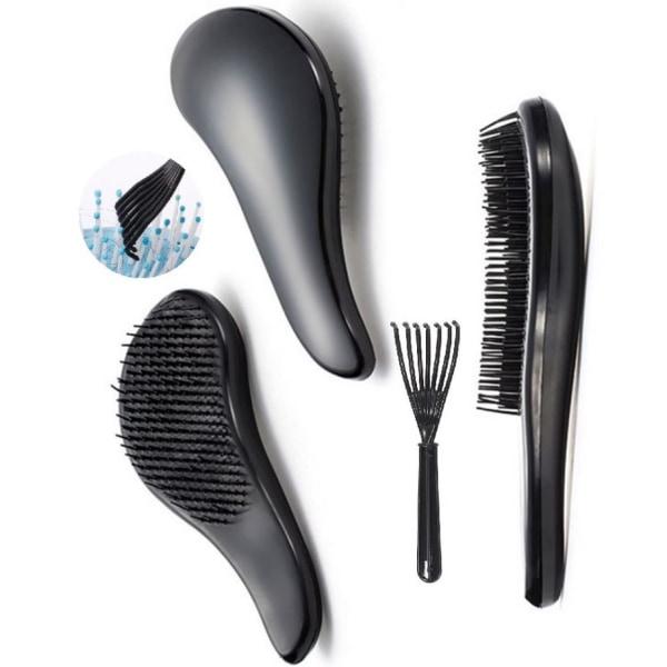 Tangle -hårborste med rengöringskam Detangler Svart & Rosa