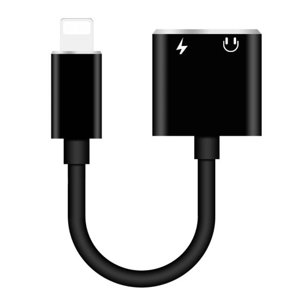 2 i 1 adapter Lightning Svart